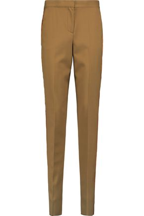 ROKSANDA Welles satin-paneled wool-twill slim-leg pants