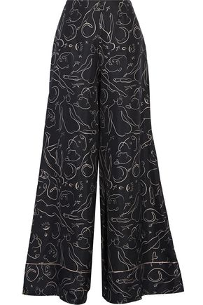 ROKSANDA Oldridge printed silk-twill wide-leg pants