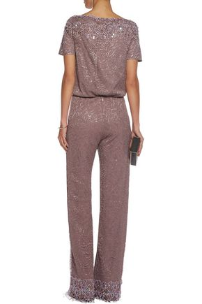 MARIA GRACHVOGEL Sequin-embellished metallic lace jumpsuit