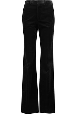 JOSEPH Stretch cotton-blend velvet bootcut pants