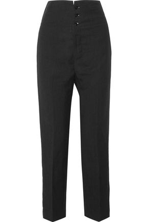 JOSEPH Yoyo washed linen and wool-blend straight-leg pants