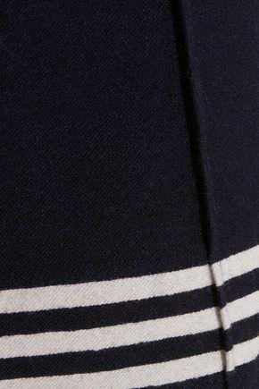 SEA Cropped striped wool-blend felt wide-leg pants