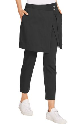 DKNY Layered cropped cotton and wool-blend gabardine pants