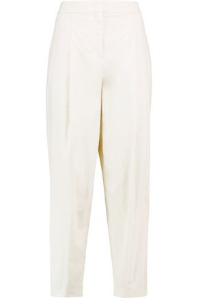 DKNY Cropped pleated cotton straight-leg pants