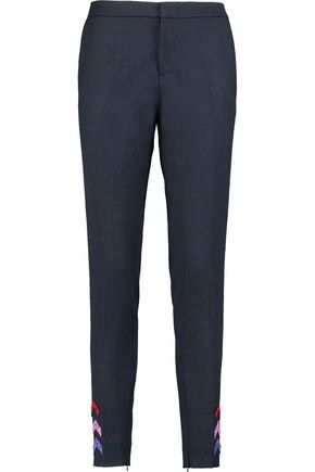 MARY KATRANTZOU Bellagio appliquéd wool-twill skinny pants