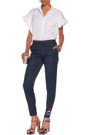 MARY KATRANTZOU Bellagio appliquéd wool-twill skinny pants