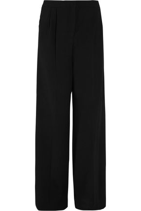 MARY KATRANTZOU Onyx appliquéd crepe wide-leg pants