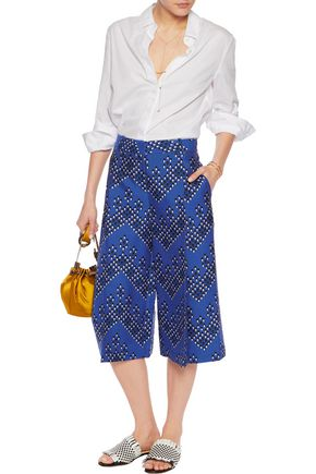 DIANE VON FURSTENBERG Pleated printed wool and silk-blend culottes