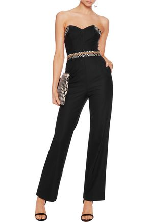 CAMILLA Strapless embroidered crepe jumpsuit