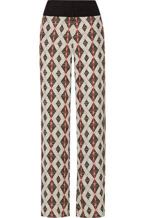 CAMILLA Gauze-trimmed printed crepe de chine wide-leg pants