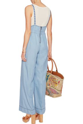 CAMILLA Embroidered tencel-chambray jumpsuit
