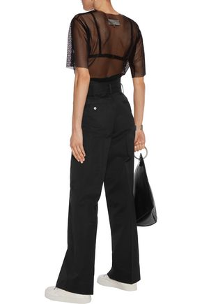 DKNY Belted cotton and silk-blend wide-leg pants