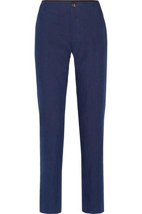 A.P.C. Jockey cotton and linen-blend straight-leg pants