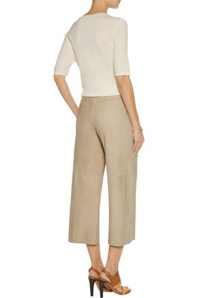 THEORY Tennen cropped suede wide-leg pants
