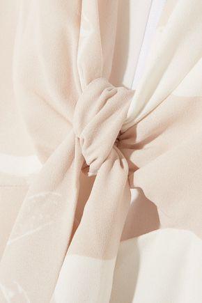 HALSTON HERITAGE Printed stretch-crepe jumpsuit