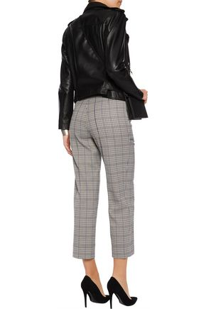 SANDRO Checked crepe straight-leg pants