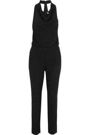 HALSTON HERITAGE Draped crepe jumpsuit