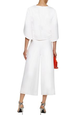 MILLY Pleated cotton-twill culottes