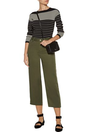 OPENING CEREMONY Carpenter cropped satin-trimmed twill wide-leg pants