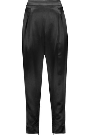 DIANE VON FURSTENBERG Crosby pleated textured-satin tapered pants