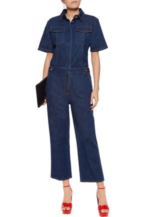 SONIA RYKIEL Appliquéd stretch-denim jumpsuit