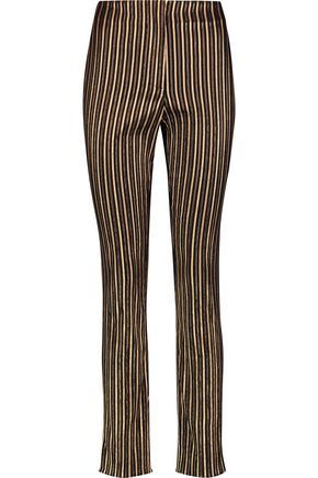 SONIA RYKIEL Metallic striped cotton-blend crepe slim-leg pants