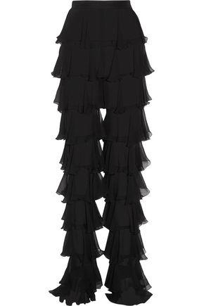 BALMAIN Tiered silk-chiffon slim-leg pants