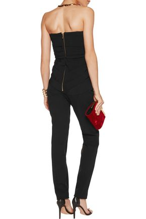 BALMAIN Strapless pintucked crepe jumpsuit