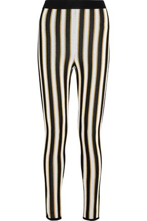 BALMAIN Metallic striped crocheted skinny pants