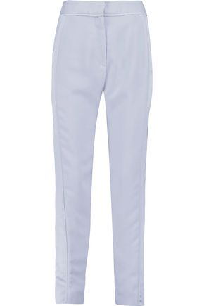 CARVEN Satin-paneled crepe slim-leg pants