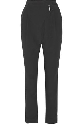 CARVEN Grosgrain-trimmed crepe slim-leg pants