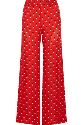 CHRISTOPHER KANE Printed silk crepe de chine  wide-leg pants