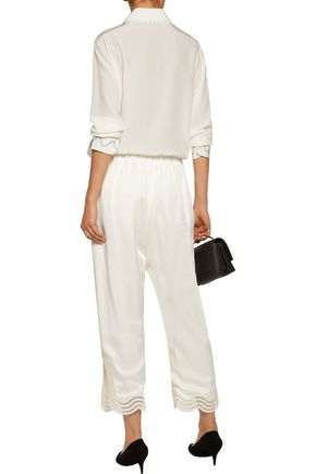 CHRISTOPHER KANE Cropped open knit-trimmed crepe wide-leg pants