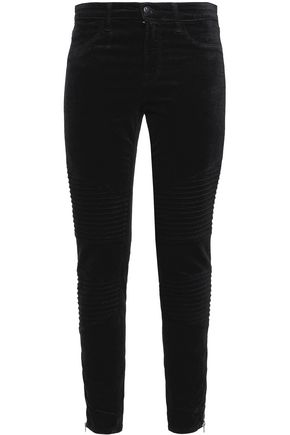 J BRAND Stretch cotton and modal-blend velvet slim-leg pants