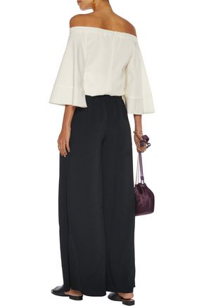 CINQ À SEPT Wrap-effect crepe wide-leg pants