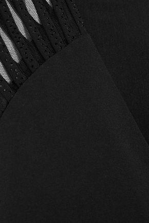 HALSTON HERITAGE Tulle-paneled embellished stretch-crepe jumpsuit