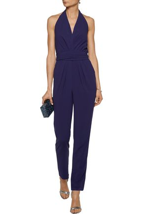 HALSTON HERITAGE Belted pleated stretch-crepe jumpsuit