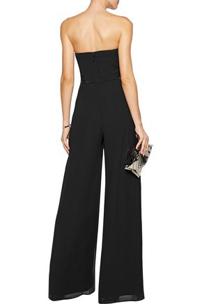 HALSTON HERITAGE Belted layered crepe jumpsuit