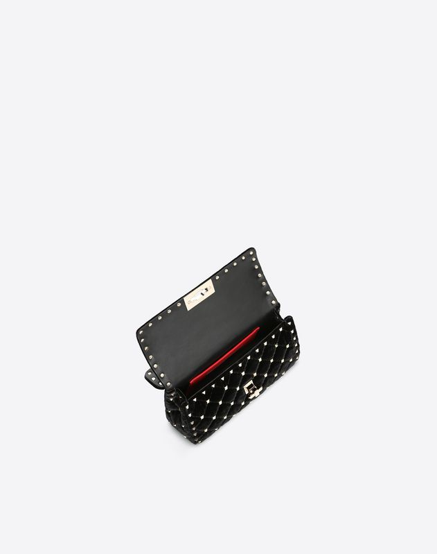 Small Velvet Rockstud Spike Bag