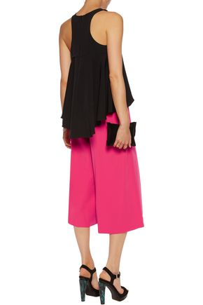 MILLY Pleated stretch-cady culottes