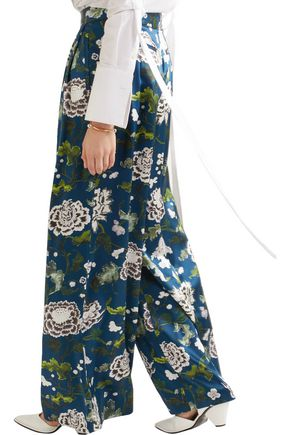 ADAM LIPPES Floral-print silk-charmeuse wide-leg pants