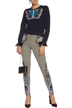 MARY KATRANTZOU Labyrinth embroidered houndstooth skinny pants
