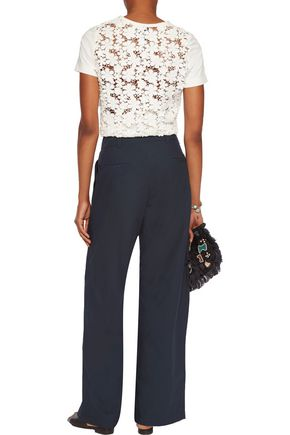 SEA Belted pleated cotton wide-leg pants