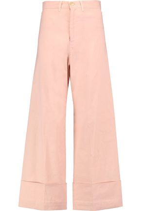 SEA Cropped stretch-canvas wide-leg pants