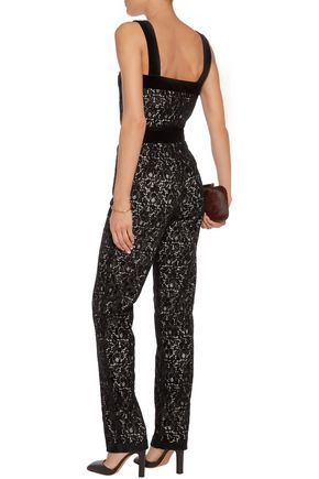 MAJE Velvet-trimmed flocked lace jumpsuit