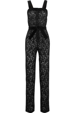 MAJE Velvet-trimmed flocked lace jumpsuit