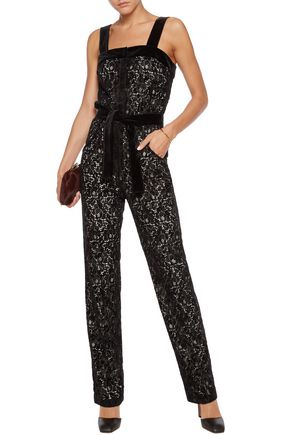 ... MAJE Velvet-trimmed flocked lace jumpsuit ...