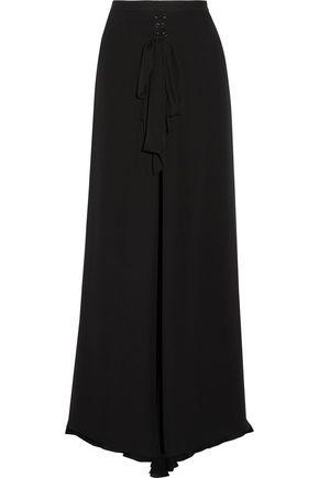 HAUTE HIPPIE Skirt-effect lace-up stretch-silk and silk-chiffon wide-leg pants