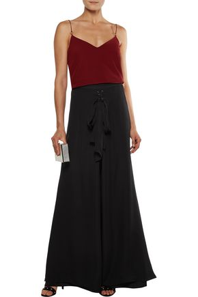 HAUTE HIPPIE Skirt-effect lace-up stretch-silk and silk-chiffon wide-leg pants