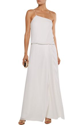 HAUTE HIPPIE The Goodbye Baby one-shoulder layered crepe and silk-chiffon jumpsuit